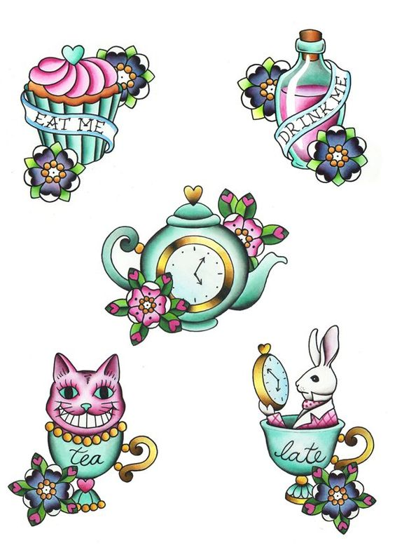 Alice in wonderland tattoos. I wanna get the teapot but have a small mad hatter hat ontop of it :) I always read the book when I was little and I love the story. I've been thinking hard about getting it :)