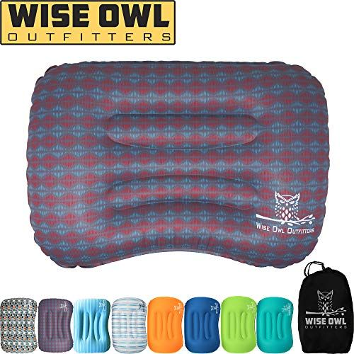 Wise Owl Outfitters Ultralight Inflatable Air Camping Pillow Compressible Compact Inflating Small Travel Pillows For Sleeping Backpacking Hammock Car Camp Beach Smart Push Button Air Valve Abstract Camping Pillows Backpacking Hammock