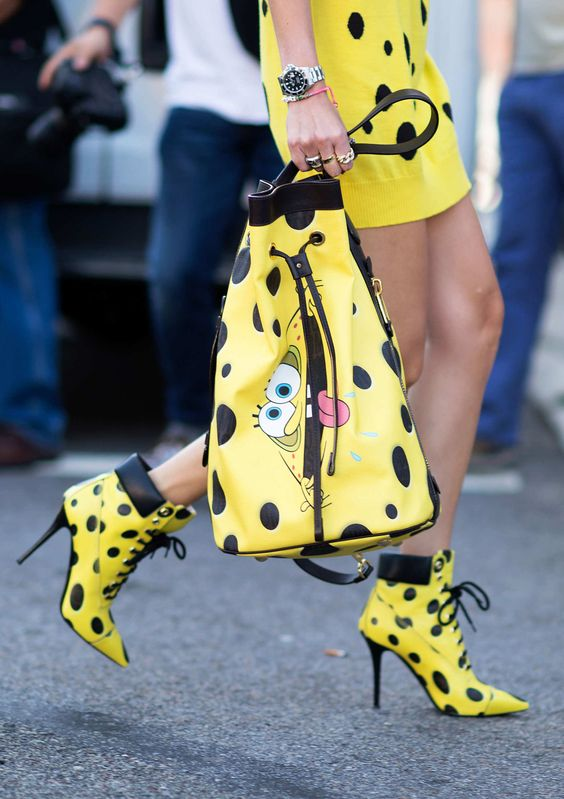 Most Ubiquitous Street-Style Bait Committing to the Moschino SpongeBob look, even down to the shoes. Photo: Youngjun Koo/I'M KOO