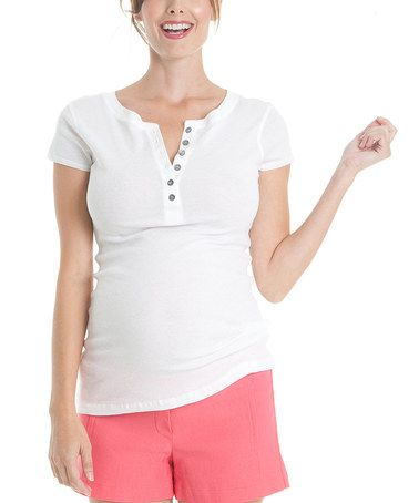 Another great find on #zulily! White Maternity Short-Sleeved Henley by Juliet Dream #zulilyfinds