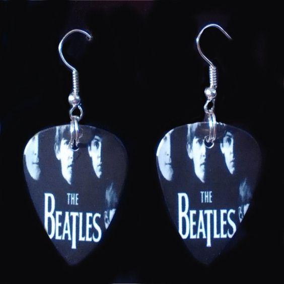 The Beatles Guitar Pick Earrings Set  Guitar Pick by 322Music