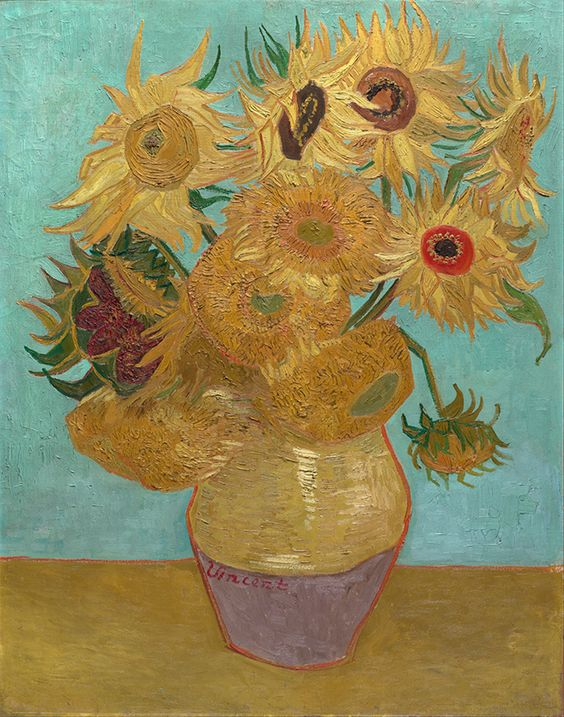 Vase with 12 Sunflowers by Vincent Van Gogh, oil on canvas 1888 or 1889, is a still life #painting of twelve #sunflowers in a large #vase against a cool gray background. #VanGogh #poster #print  www.zazzle.com/justvangogh/posters?ps=120&rf=238581041916875857&tc=pin