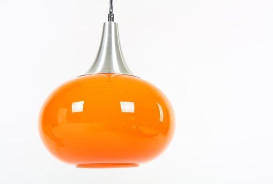 Orange Case Glass Pendant Lamp - Mr. Bigglesworthy Designer Vintage Furniture Gallery