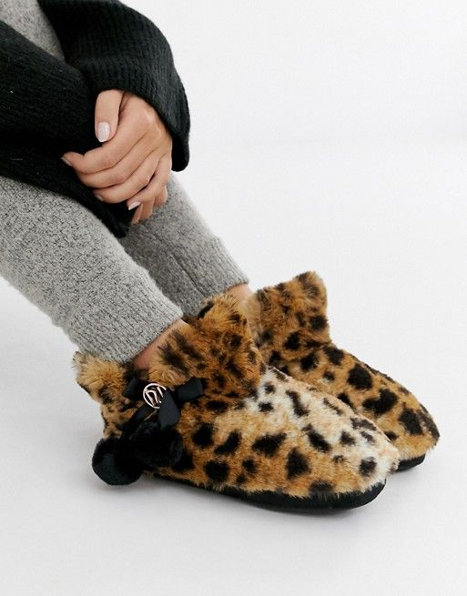 River Island boot slippers with pom