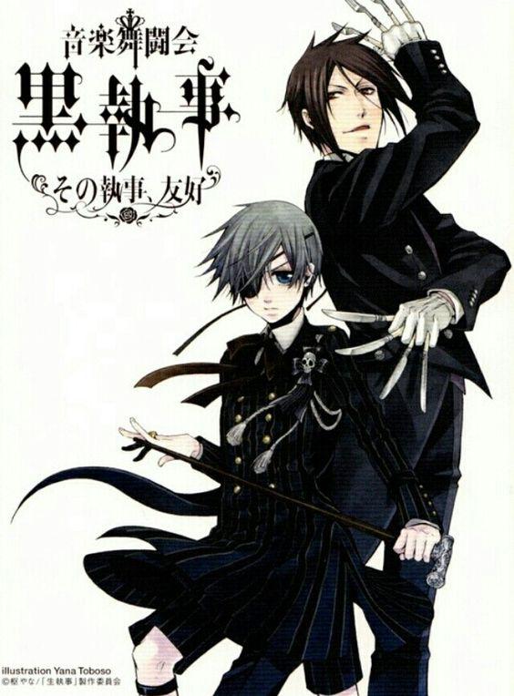 Ciel & Sebastian kuroshitsuji..  I don't know why but I really love this picture♡♡.