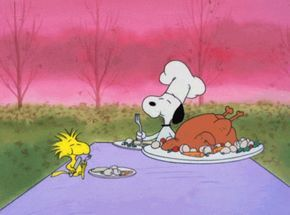charlie brown thanksgiving eating GIF