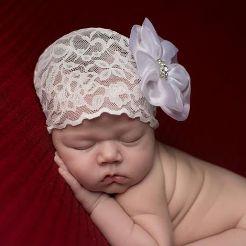 Melondipity White Hat with Black Frayed Flower Newborn Girl Hospital Hat