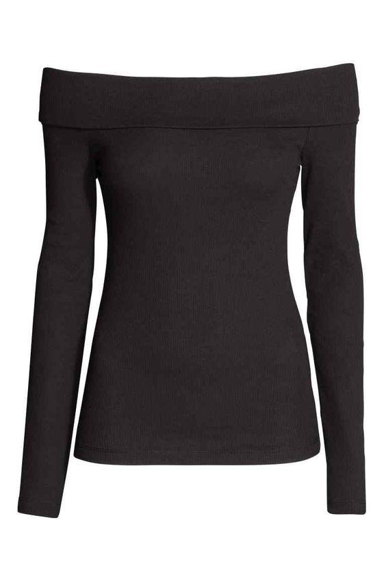 Camisola ombros decobertos: Camisola justa de ombros descobertos em jersey macio canelado com rebordo dobrado na parte superior e mangas compridas.
