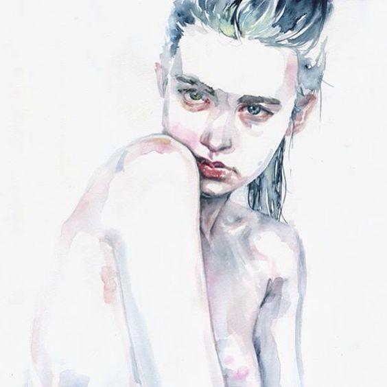 Watercolor portrait of @ali_michael #alimichael