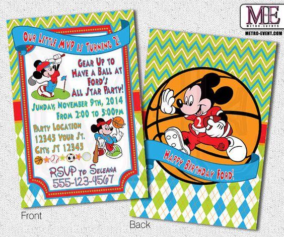 Mickey Mouse All Star Sports Invitations  Digital by MetroEvents