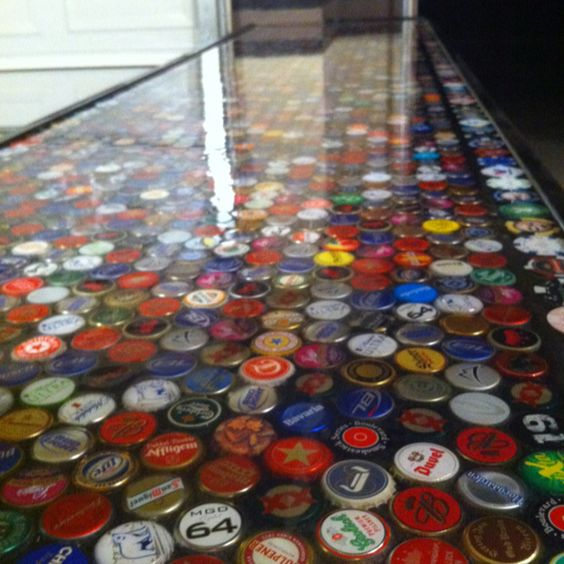 Pinterest the world s catalog of ideas for Beer cap bar top