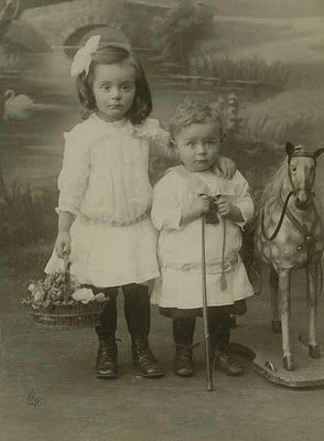 +~+~ Antique Photograph ~+~+   Adorable little tykes with their wide-eyed expressions.: