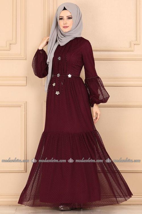 Modaselvim Elbise Aksesuar Cicekli Tul Elbise Ygs6212 Bordo Elbise Elbise Modelleri Elbiseler