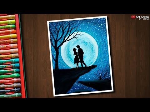 Couple Moonlight Scenery Drawing With Oil Pastels Step By Step Youtube Oil Pastel Paintings Oil Pastel Art Oil Pastel