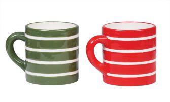 Striped Christmas Mugs