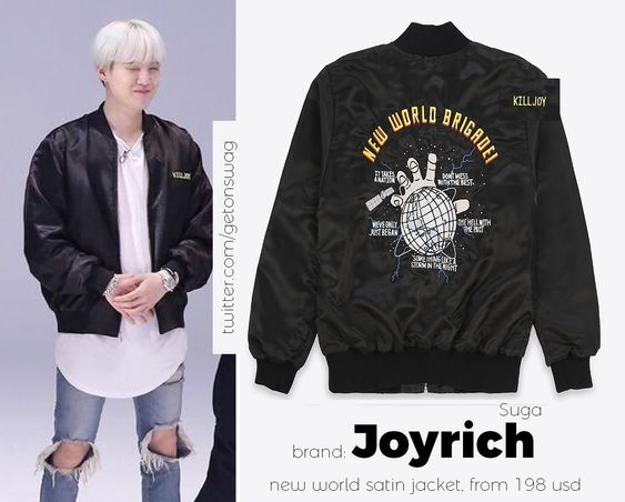 SUGA  #SUGA 171128 Run BTS! epi. 29 #BTS  #방탄소년단  #민윤기  Joyrich - New World Satin Jacket (Kill Joy)pic.twitter.com/iYgAREDZlk