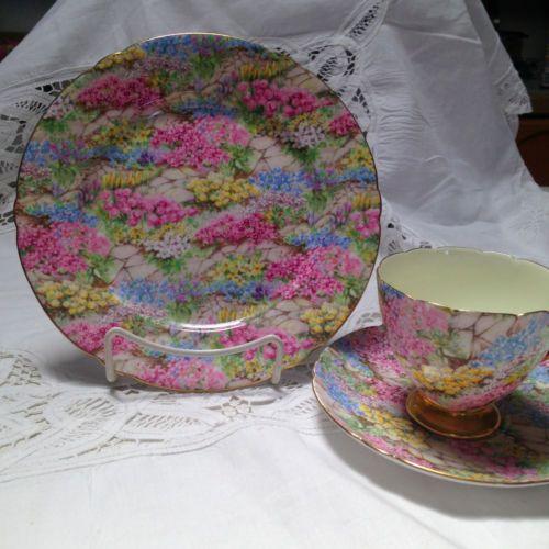 Shelley Trio Plate Cup Saucer Rock Garden Pattern Lovely Chintz | eBay
