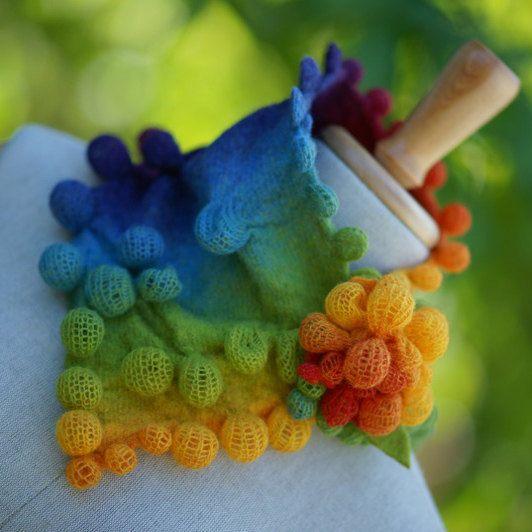 Rainbow bubble shawl