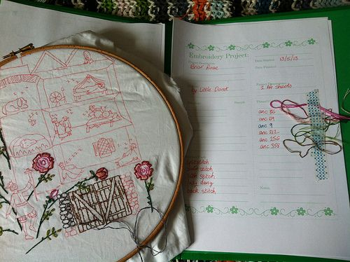 Patterns: Embroidery Journal printable from Kimberley Ouimet