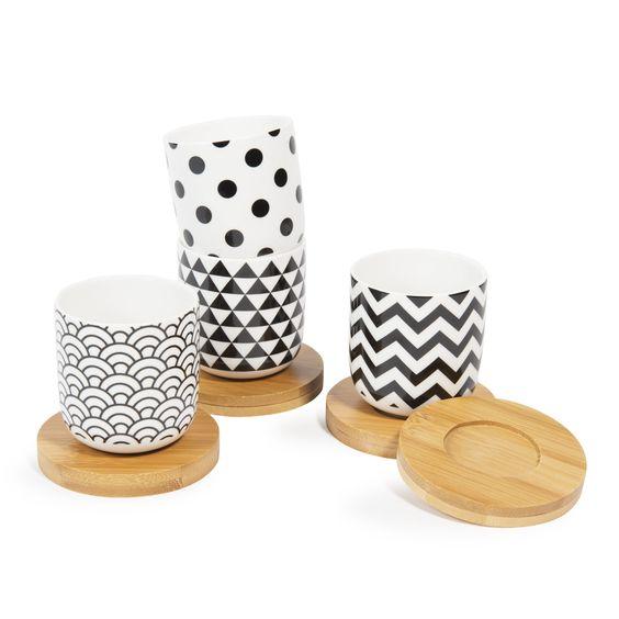 Coffret 4 tasses en porcelaine avec soucoupes BLACK & WHITE   Maisons du Monde