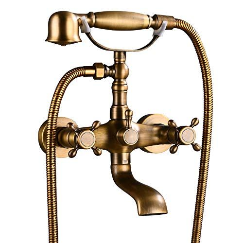 Aolemi Wall Mount Antique Brass Bathtub Faucet With Hand Shower Sprayer Bathroom Tub Faucet Double Cross Handle Bathtub Faucet Tub Faucet Brass Bathtub Faucet