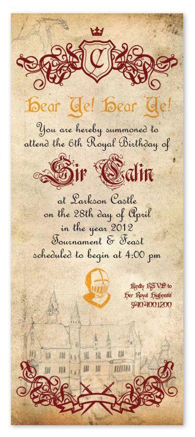 Knight Birthday Invitation. $17.00, via Etsy.