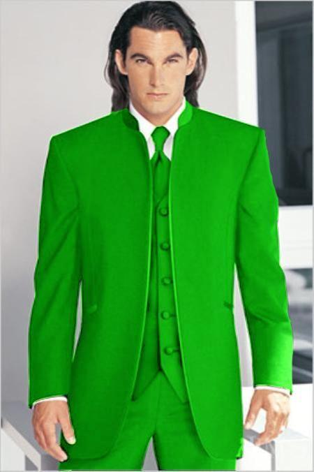 Mirage Tuxedo Mandarin Collar Lime Green Vested 3PC No Buttons Pre