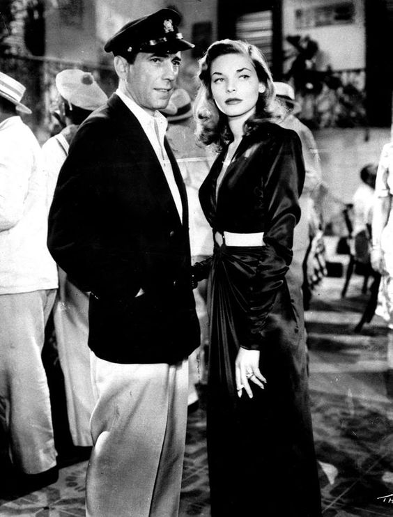 "Lauren Bacall and Humphrey Bogart, who fell in love while making 1944's ""To Have and Have Not,"" tied the knot on this date in 1945. She was 20; he was 45. They remained married until his death of cancer in early 1957. Photo of the couple in ""To Have and Have Not"" from the L.A. Times files.:"