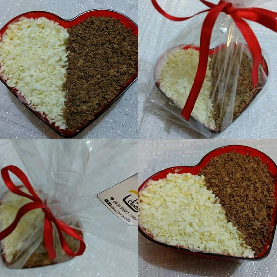 Coração de acrílico recheado com brigadeiro casadinho e coberto com chocolate ralado
