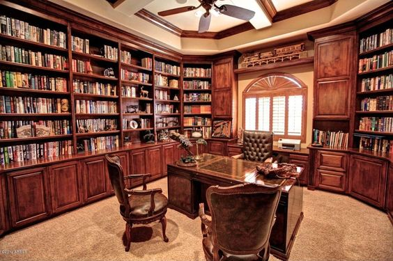 Traditional Home Office with Box ceiling, Built-in bookshelf, Crown molding…