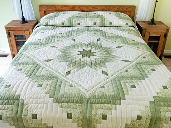 Lone Star Log Cabin Quilt -- wonderful adeptly made Amish Quilts from Lancaster (hs6788):