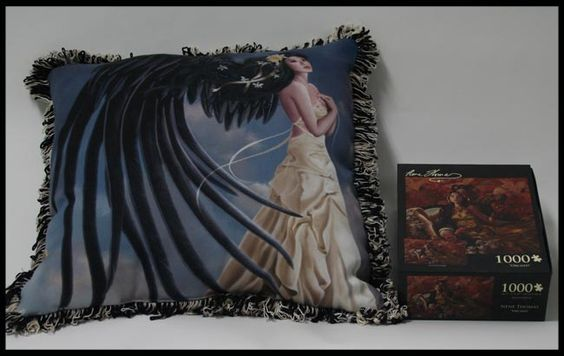 Nene Thomas pillow, courtesy of Pyramid Collection: Citrine Chrysanthemum and Orchids puzzle