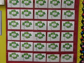 st. patrick's day sight word pocket chart...remove when they can read the word. one card has a leprechaun hiding under it.