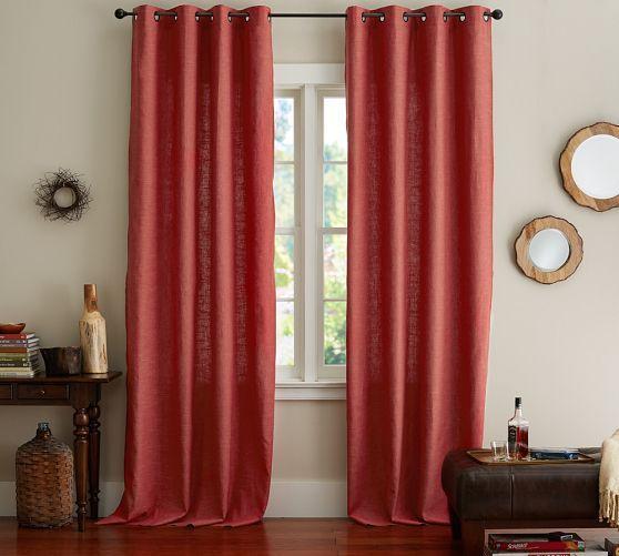 Emery Linen Cotton Grommet Curtain Blue Dawn Living Room Mit