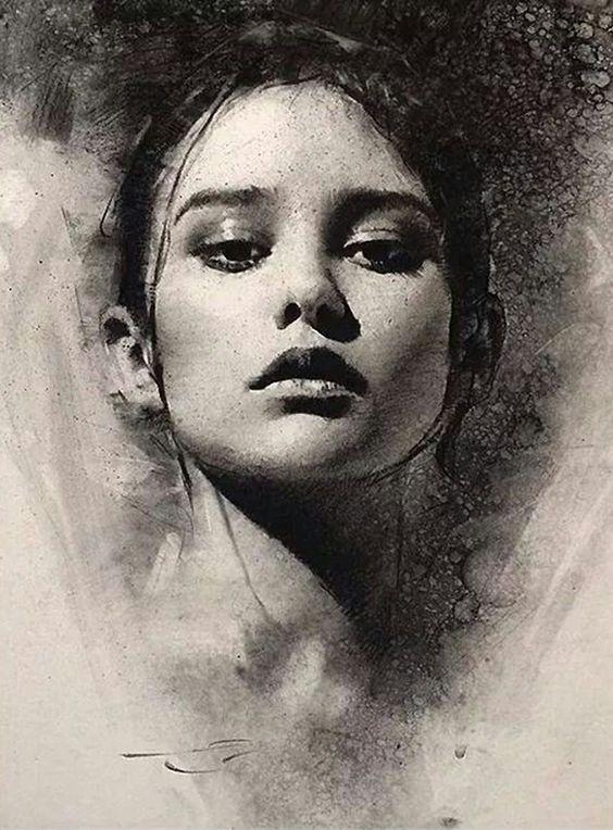 Casey Baugh (b. 1984), beautiful female portrait charcoal drawing. #loveart caseybaughfineart.com