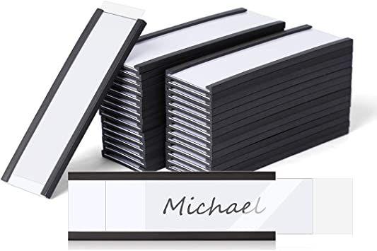 Lenink 30pack Magnetic Label Holder Magnets Magnetic Data Cardholders Strips With Protective Films For Shelf Bin File C Metal Shelves Shelf Bins Metal Mailbox