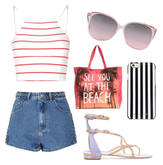 """""""Beach Day"""" by hann227f ❤ liked on Polyvore featuring Glamorous, René Caovilla and MICHAEL Michael Kors"""