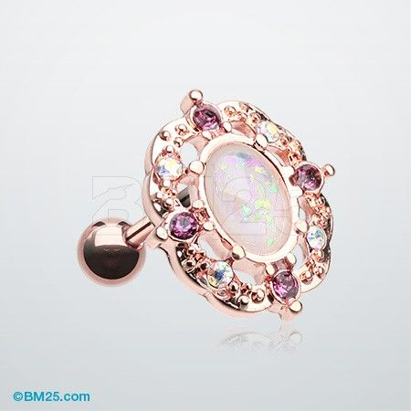 Rose Gold Grand Florid Opal Cartilage Tragus Earring