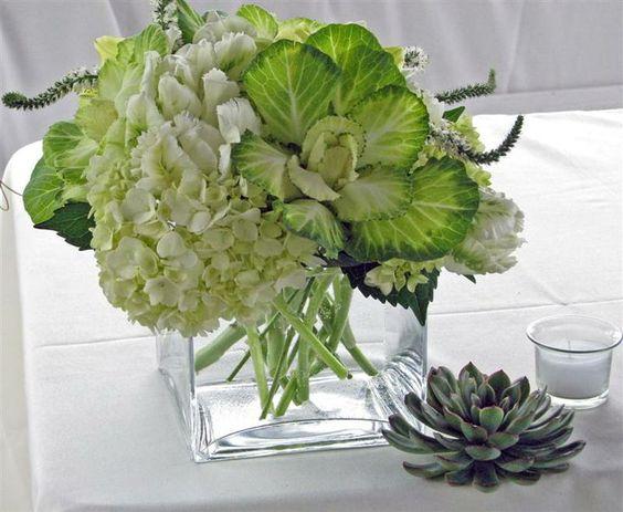 hydrangea kale centerpiece - Google Search
