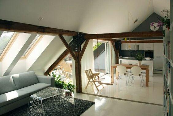 dachwohnung einrichten küchennische esstisch sofa dekorativer, Deko ideen