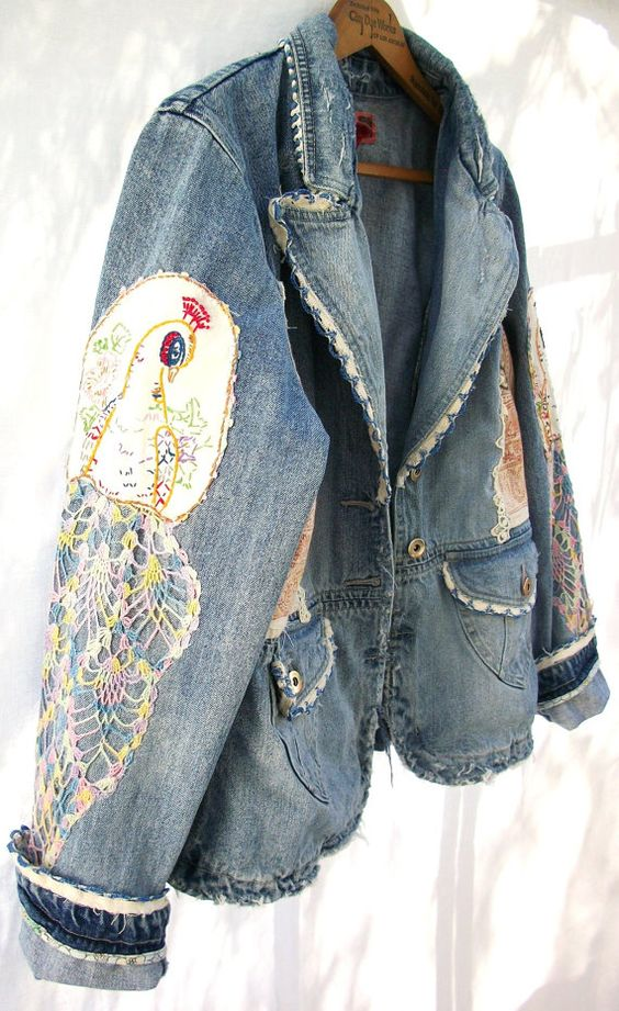 Aged Denim Jacket Vintage Crochet & by AtomicTreasureHunter