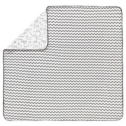Couverture imprimée animaux et zig-zag 80x80 cm  Additional
