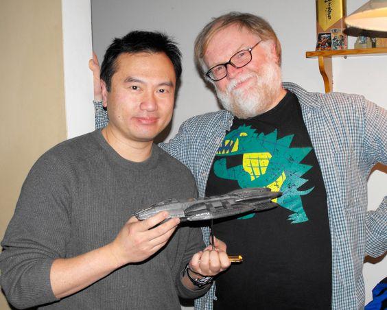 With Battlestar Galactica designer Eric Chu and a Galactica that I built.