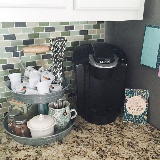 Instagram metals and bar on pinterest for Countertop coffee bar ideas