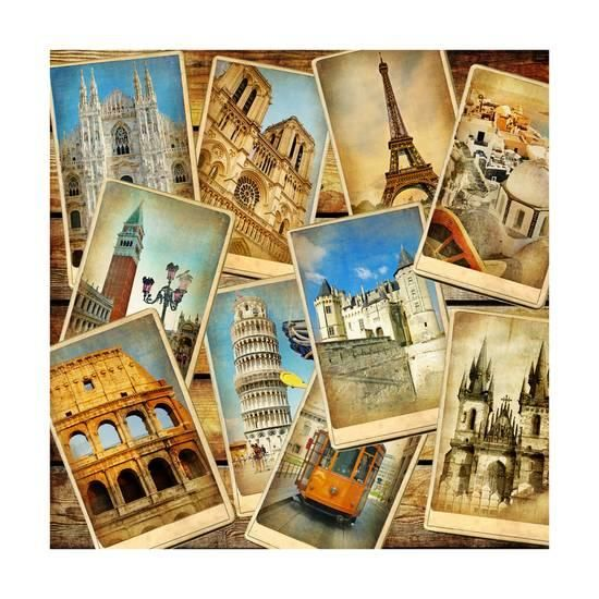Vintage Collage European Travel Poster Maugli L Allposters Com Travel Collage Travel Art Print Vintage Collage