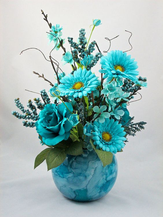 Silk Floral Arrangement  Shades of Blues by AlwaysInBloomFloral, $56.00: