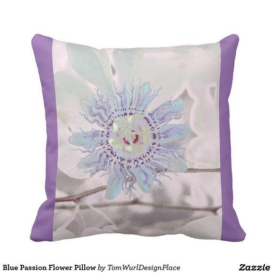 Blue Passion Flower Pillow