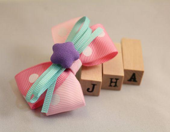 Children/Girls hair clip/hair bow  Candy dots by JigulinsHA, $4.95