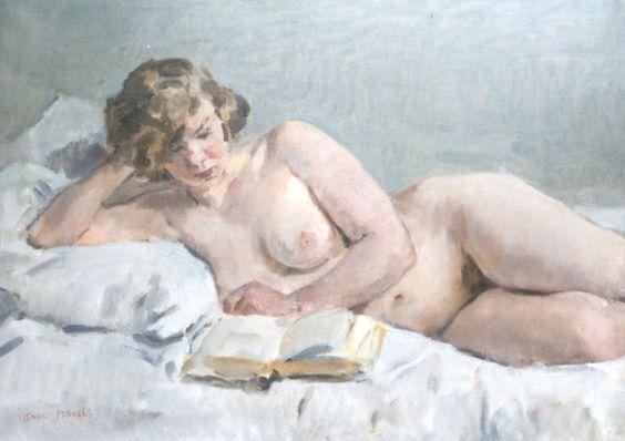 """""""Nude Reading (Sjaantje van Ingen)"""" / Isaac Israëls (1865-1934)*:"""