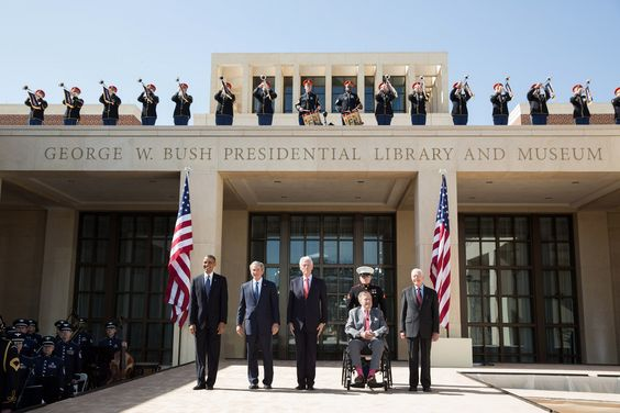 President Barack Obama pauses with former Presidents George W. Bush, Bill Clinton, George H.W. Bush, and Jimmy Carter during the dedication of the George W. Bush Presidential Center at the George W. Bush Presidential Library and Museum on the campus of Southern Methodist University in Dallas, Texas, April 25, 2013. (Official White House Photo by Pete Souza)   This official White House photograph is being made available only for publication by news organizations and/or for personal use…